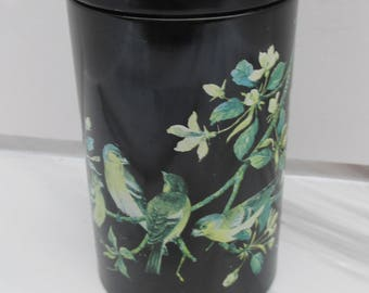 Vintage Black Metal Lidded Tin with Chaffinches - Old Bird Tin