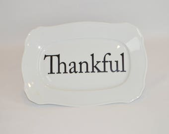 "Jolee 12"" x 8"" Rectangular Plate (shown with image #  T13- Thankful)"