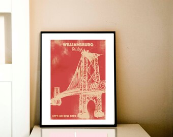 Williamsburg bridge with retro damask design - Fine art print, red, silhouette, bridge, new york, america, pink color