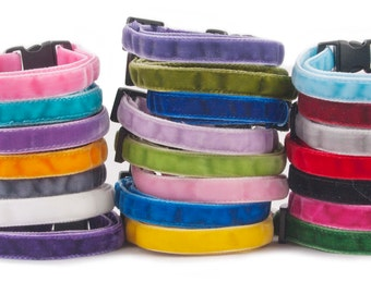 Soft Double Velvet Cat Collars. Cat or Kitten Safety Collar with Quick Release Buckle and Removable Bell - Red, Green, Blue Cat Collars
