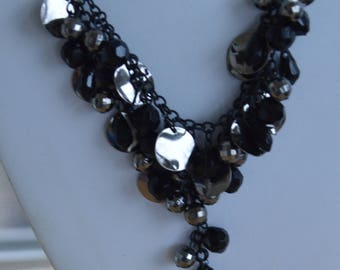 """Black, Darkened Silver tone Beaded """"Y"""" Necklace, New Old Stock, 18""""-21"""" (W6)"""