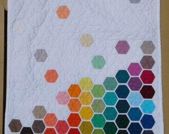 Quilt Pattern, Falling Hexies, Hexagon English Paper Piecing, Make Wall Hanging, Home Decor, Rainbow, Simple
