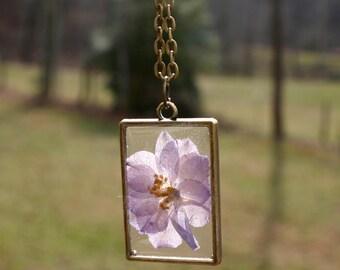 July Birth Flower Necklace, Real Flower Necklace, Larkspur Flower, Birthday Flower, Botanical Jewelry, Pressed Flower Jewelry