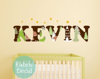 Name Wall Decal Fabric Nature mountains bear Name  Wall Decal perfect decoration for nursery or playroom