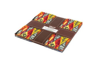 "SALE Fabric Pam Goecke Dinndorf Psychedelia Ten Squares 10"" Precut Fabric Quilting Cotton Layer Cake Robert Kaufman TEN-593-42"