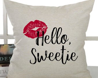 Doctor Who - River Song - Hello, Sweetie - pillow cover - 18x18inch - machine washable - fiber arts - eco ink