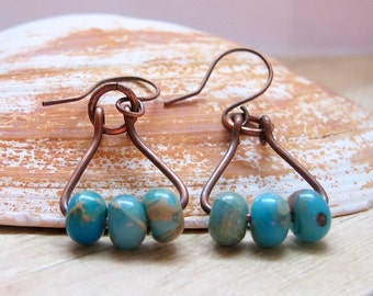 Oxidized Copper Earrings With Dyed Serpentine Jasper Beads, Rustic Dangle Earrings, Copper Beaded Earrings