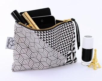 Black and white zipper pouch Original ANJESY designs