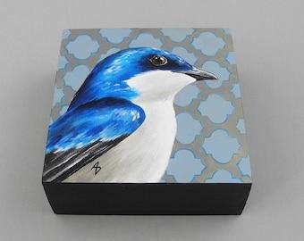 BlueTree Swallow painting - spring blue bird art block - blue bird of happiness - spring bird painting - wildlife art - birdwatching