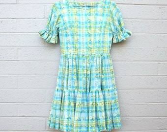 Vintage Plaid Dress Fit and flare Pastel Yellow Blue Floral print fabric Small