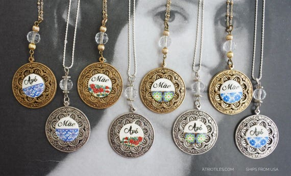 Necklace Mãe Mother's Day Avó Tia Portugal Portuguese Azulejo Tile ROSE WINDOW Viana  14k gold chain or 925 Silver - Gift - Ships from USA