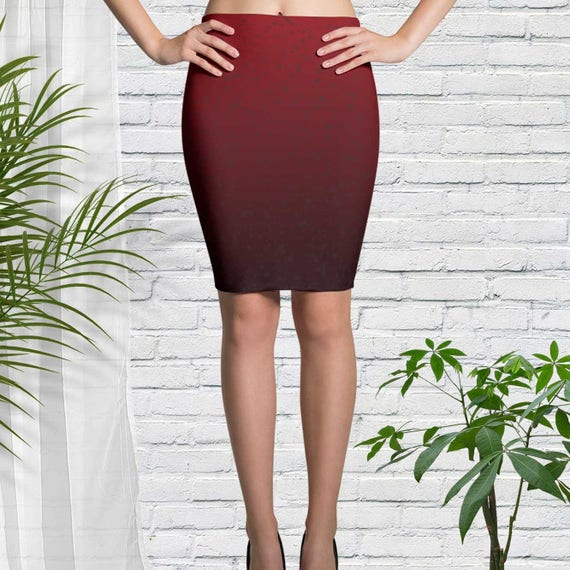 Pencil Skirt in Red Ombre Clothing for Party Church Wedding