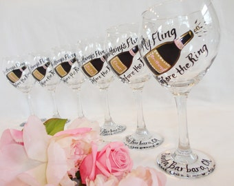 "BACHELORETTE PARTY Wine Glasses, Bridesmaid Wine Glasses, Bridesmaid Gifts, Bachelorette Party Gifts, ""Fling Before the Ring"""