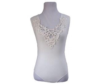 Vintage White Lace V-neck Leotard Bodysuit Size Small Womens Button Snap Leotard