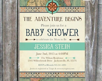Vintage Compass Map Baby Shower Invitation - Adventure Baby Shower Invite -  Digital Download - Printable