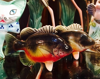 PY Ucagco Sunfish Perch Fish Salt and Pepper Shakers made in Japan circa 1950s