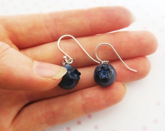 Blueberry Earrings - Fruit jewelry, Food jewelry, Fruit Earrings, Blueberry Jewelry