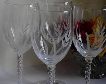 4 Crystal Glasses with Barley Twist Stems and Deeply Etched with Stylised Barley