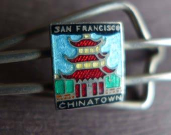 Vintage Chinatown San Francisco Tie Bar, California Souvenir Jewelry, Chinese Telephone Exchange Enamel Tie Bar, Father's Day Men's Gift