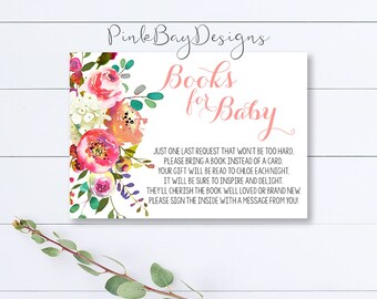 Floral Books For Baby Insert, Book Request Card, Shower Insert, Floral Baby Shower, Books For Baby, Book Card, Printable Book Request