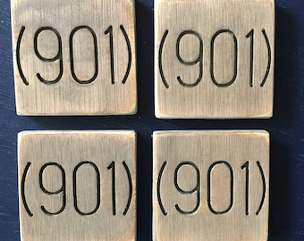 Engraved Wooden Local Love Coasters, Personalized with your Area Code