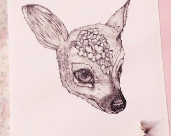 Rose Petal Deer A4 Fawn Print