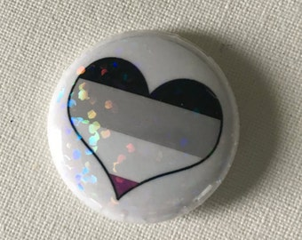 BENEFITS ACLU- Holographic Glitter Asexual One Inch Button, Pride, Ace, Black, Gray, White, Purple