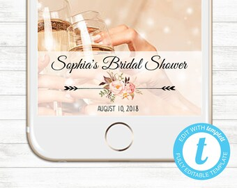 EDIT YOURSELF, Templett Snapchat Geofilter, Bridal Shower Geofilter, Instant Download, Floral Wedding Geofilter, Baby shower geofilter