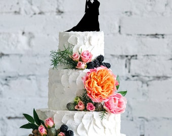 Wedding Couple Cake Topper | Wedding Cake Topper | Bridal Shower Cake Topper | Romantic Cake Topper | Script Cake Topper