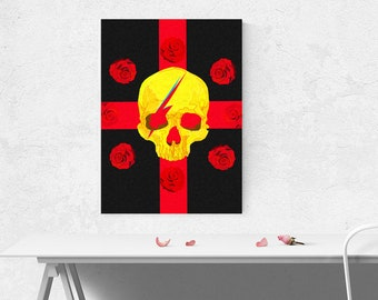 skull art print printable wall art instant download  rose art rose painting black art  human skull print anatomical art realistic art design