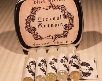ETERNAL AUTUMN Perfume Oil Sample Set, Artisan Perfume Oils, Fall Perfume Oils, Victorian Perfume Oils, Autumn Perfume Samples Set