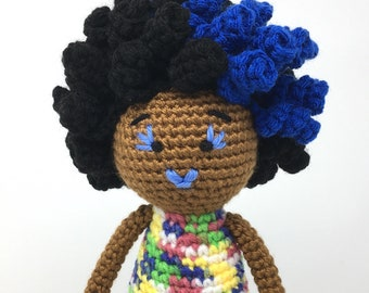 Black Doll, blue lips, hair, and eyelashes, African American, Afro, multicolored Plush Natural Black Hair, READY TO SHIP