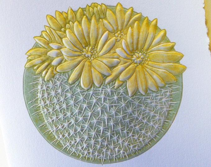 Cactus Card. Flower Card. Letterpress. Embossed. Green Yellow. Single card. Blank inside.
