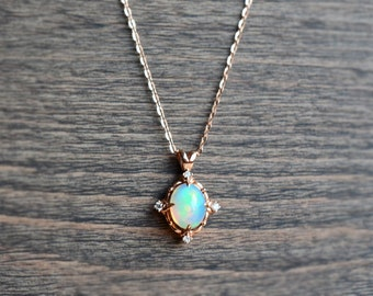Victorian Oval Necklace in Opal, Ethiopian Fire Opal and Diamond Necklace, Available in 14K or 18K Solid Gold and Platinum, N5006S