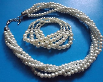 Set of necklace and bracelet from glass pearls for wedding, Jewelry for wedding