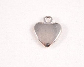 10pcs - 10mm x 8mm Silver Heart Charms - Bracelet Charms - bulk - wholesale - diy - Love - necklace pendant - b42