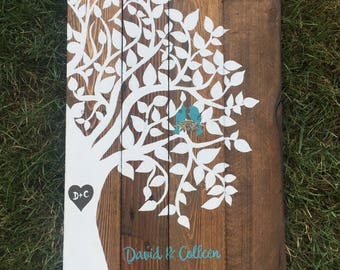 Wooden Recycled pallet Family tree sign, wedding anniversary gift pallet sign, Bird family,