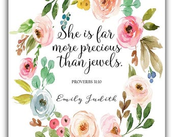 She is far more precious than jewels print or Canvas - custom colors  Girl wall art Girl nursery Proverbs 31:10  baby shower watercolor