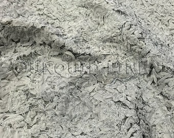 Patina Sheer Fabric in Silver - Gorgeous fabric w/ a sheer base and embroidered design throughout - Perfect for Weddings and Decorations