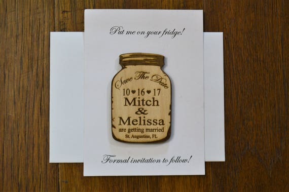 Wedding Save The Date Magnet With Envelopes Wood Save The