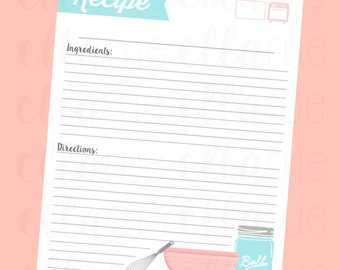 Recipe Card Printable File: Pink and Blue