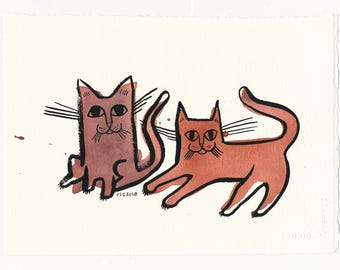 Two Cats / An Original Watercolor Pet Painting