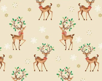 Traditional Metallic Christmas Retro Reindeer Holly Kitsch Scatter Bright Cotton Fabric by Makower