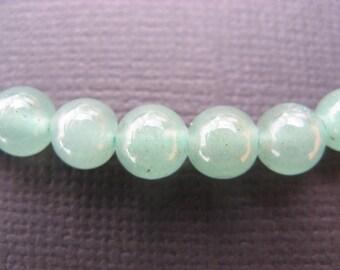 Aventurine: 5 10 mm round beads - green gemstones