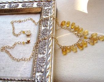 Sale Citrine gemstone Gold Necklace - November birthstone - lyxury jewelry - gift for wife