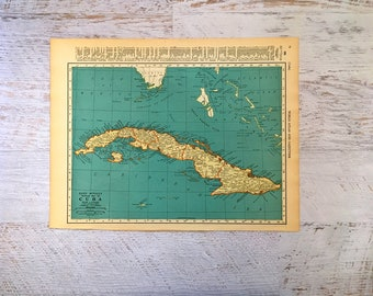 Vintage cuba map etsy 1937 cuba and west indies antique map historical print lithograph for framing beautiful 80 yr old island map to frame gumiabroncs Images