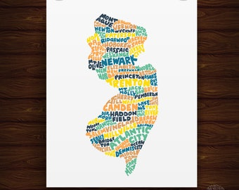 Hand Lettered New Jersey State Print, New Jersey Shape, New Jersey Artwork, New Jersey Print, New Jersey Gift