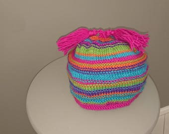 Awesome Hand Knitted Pure Wool Hippy Boho Kids Beanie With Tassels.