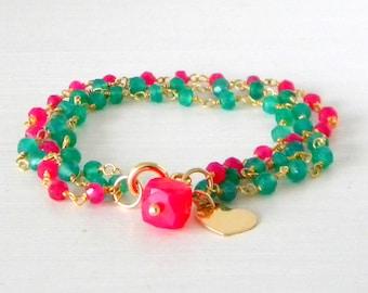 Green Onyx and Ruby Gemstone multi strand Gold Heart Charm Initial Bracelet