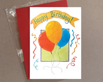 "Happy Birthday balloons card 5 x 7"" with envelope"